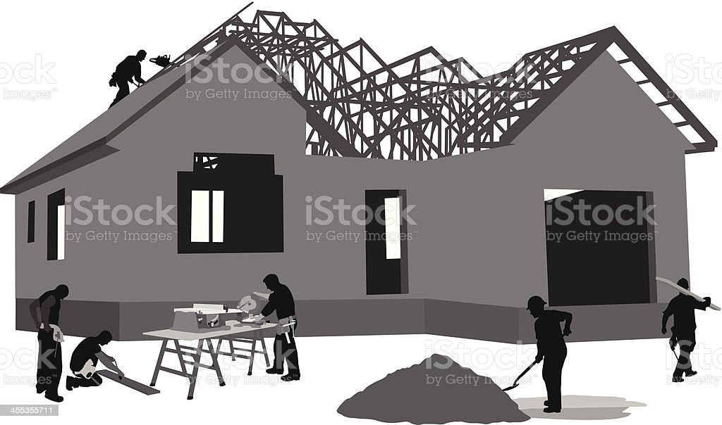 Working Hard Vector Silhouette royalty-free stock vector art