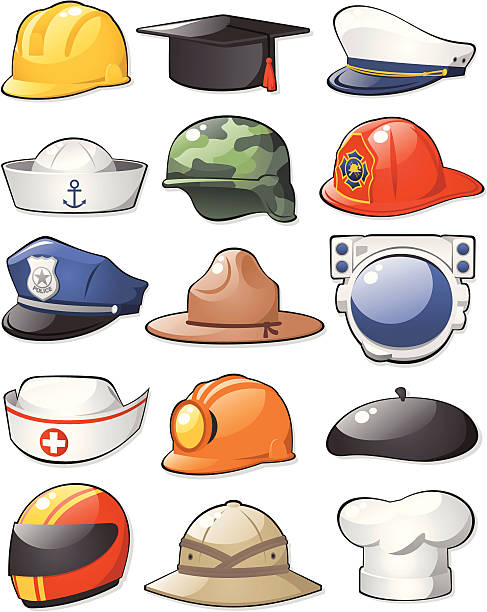 Working Hats Set Set of different working hats and helmets.  uniform cap stock illustrations