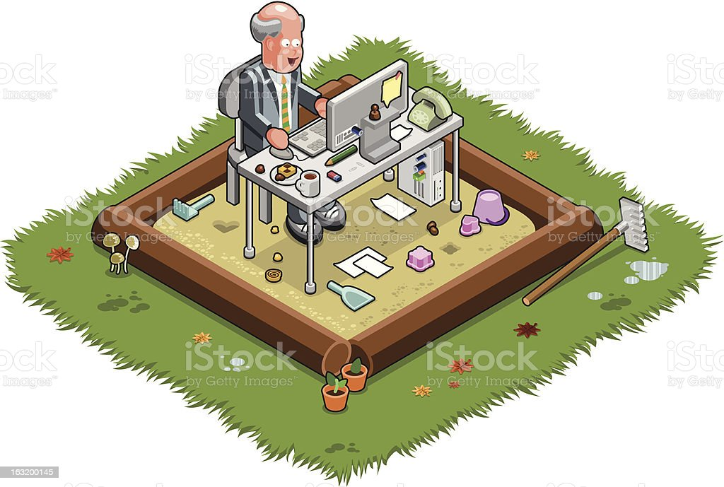 Working in a sandbox (vector) vector art illustration