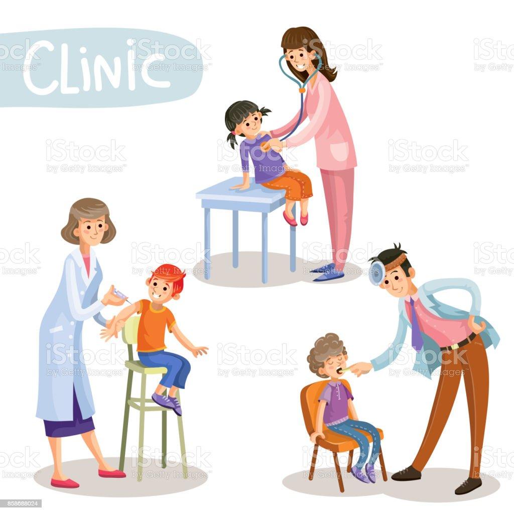 Working in clinic pediatrician cartoon vector vector art illustration