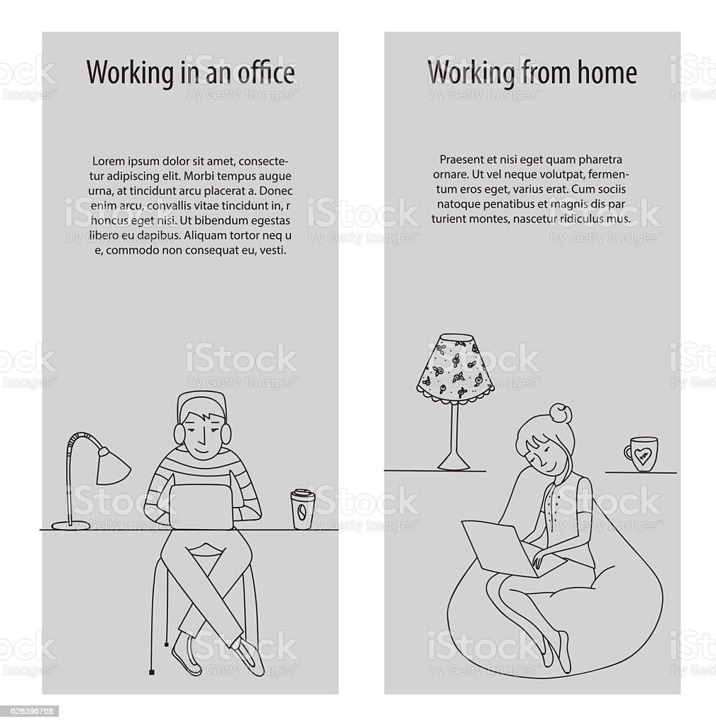 Working in office and from home vector vector art illustration