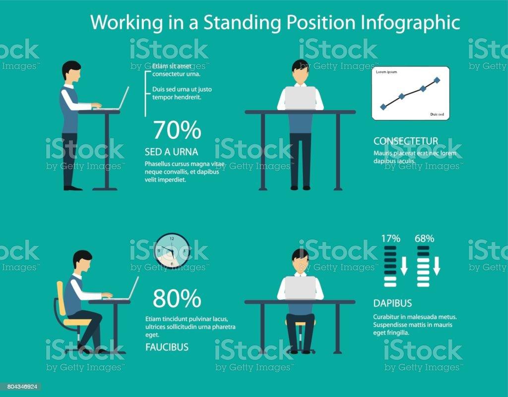 Arbeiten Im Stehen Position Vektorillustration Stock Vektor Art Und