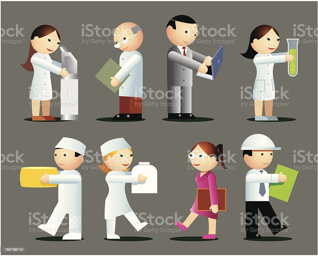 Working in the laboratory royalty-free stock vector art