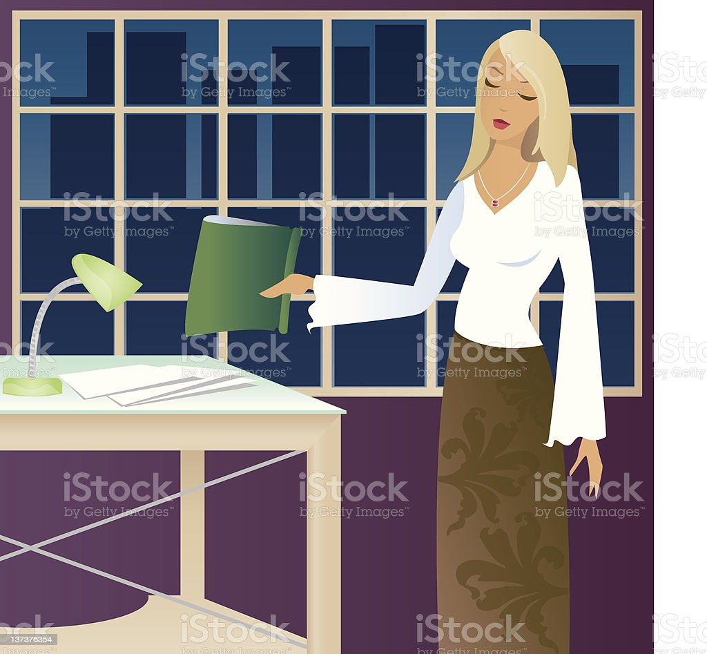 Working Late royalty-free stock vector art