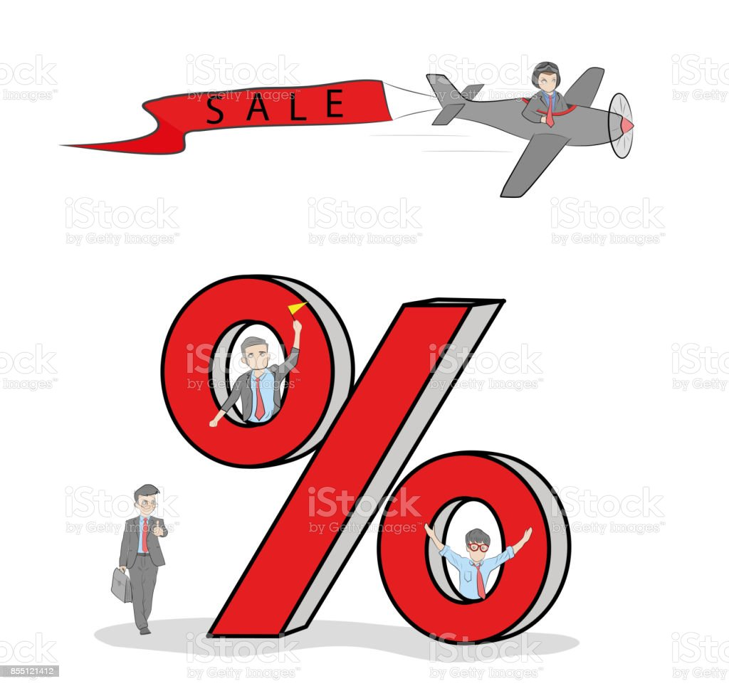 working little people with big percent signs vector illustration for