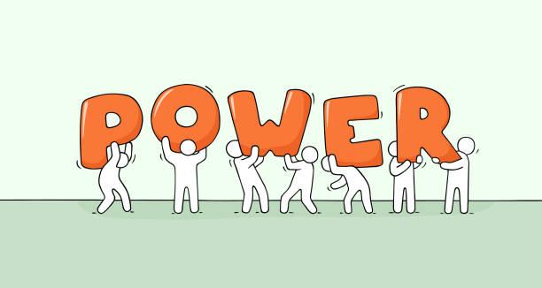 petit peuple avec grand mot puissance de travail. - Illustration vectorielle