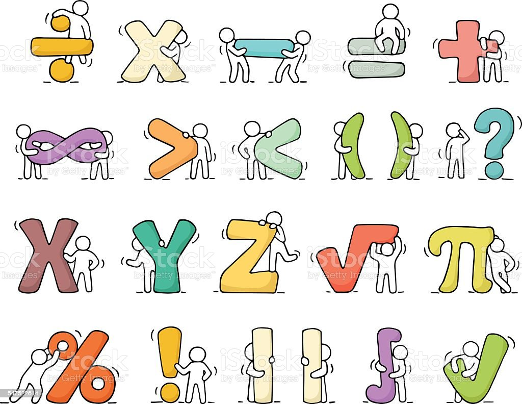 Working Little People With Mathematical Symbols Stock Vector Art