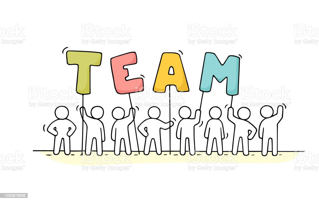 working little people with word Team royalty-free working little people with word team stock illustration - download image now