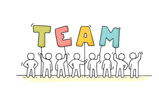 working little people with word team - team work stock illustrations