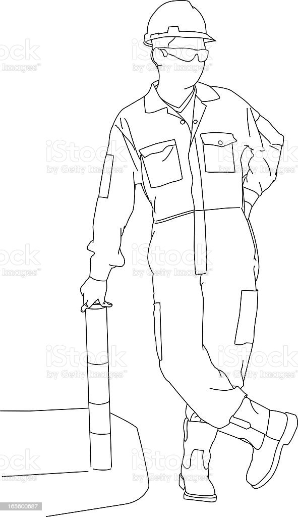 Working Man Leaning vector art illustration