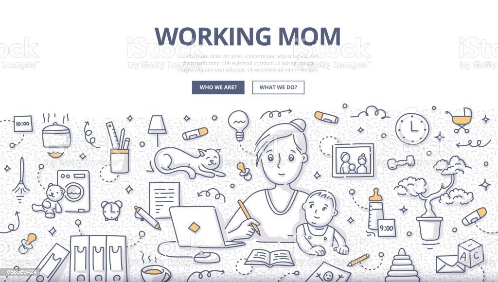 Travail maman Doodle Concept - Illustration vectorielle