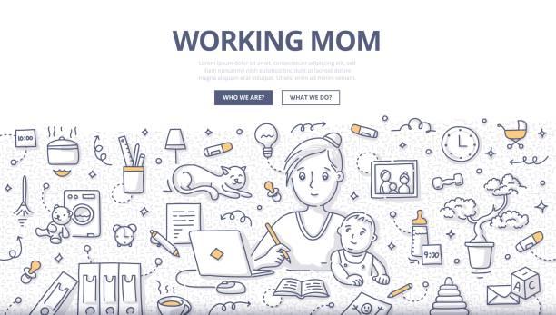 illustrations, cliparts, dessins animés et icônes de travail maman doodle concept - femmes actives