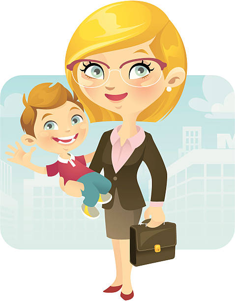 working mom - hausfrau stock-grafiken, -clipart, -cartoons und -symbole