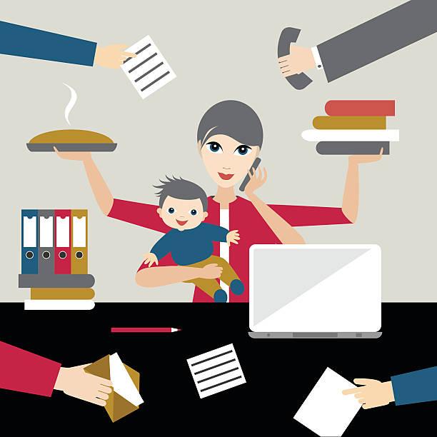 illustrations, cliparts, dessins animés et icônes de travail de la mère avec enfant offiice d'affaires. multitâche personne. - femmes actives