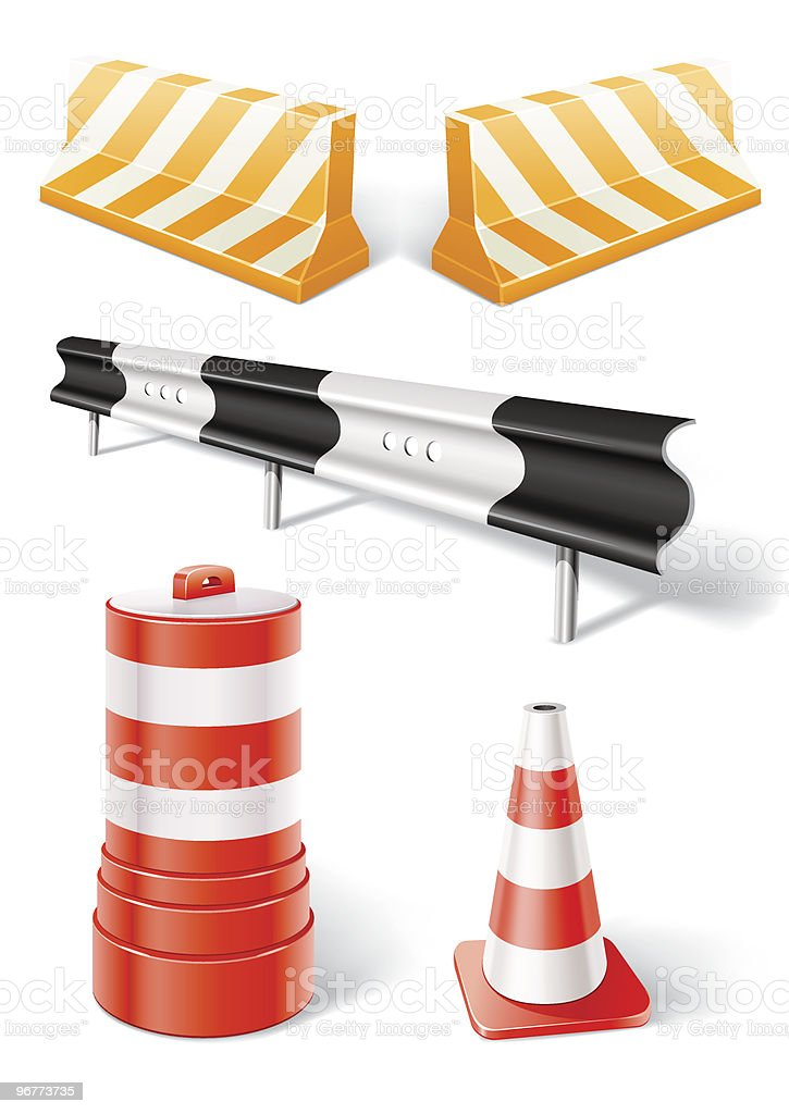 working objects for road repair or construction vector art illustration