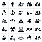 An icon set of business people working in an office type environment. The icons include business people, people working at computers, texting, working as a team, solutions, talking on the phone, leading a presentation, attending a presentation, at lunch, being fired, attending a web conference, giving a high five, in a board meeting and playing ping pong just to name a few.
