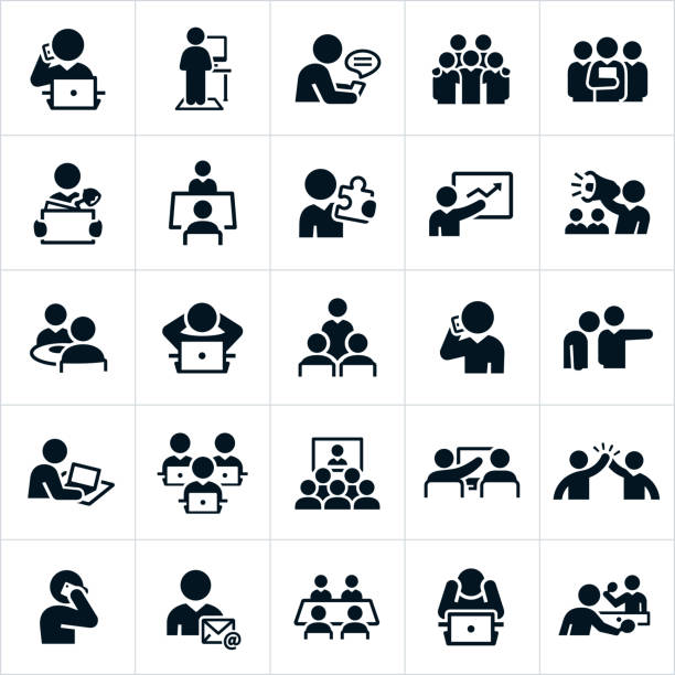 Working Office Culture Icons An icon set of business people working in an office type environment. The icons include business people, people working at computers, texting, working as a team, solutions, talking on the phone, leading a presentation, attending a presentation, at lunch, being fired, attending a web conference, giving a high five, in a board meeting and playing ping pong just to name a few. person icon stock illustrations
