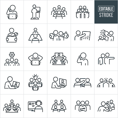 Working Office Culture Thin Line Icons - Editable Stroke
