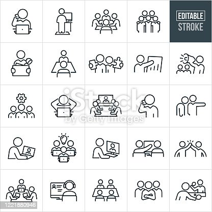 A set of working office culture icons that include editable strokes or outlines using the EPS vector file. The icons include business people working in different situations. They include a business person at their computer talking on a mobile phone, a person working at a computer on a standing desk, a boardroom full of business people working together, five business people with arms around shoulders, a business person carrying office supplies in a box, two business people each holding a puzzle piece, a business person giving a sales presentation, a business person using a bullhorn, a team of business people, business people in a boardroom taking part in a video conference, an employee being fired, a business person on their laptop, business person on their desktop computer, two business people working together at a computer, a high five between two business people, business team with arms folded and two business people playing a game of table tennis to name a few.