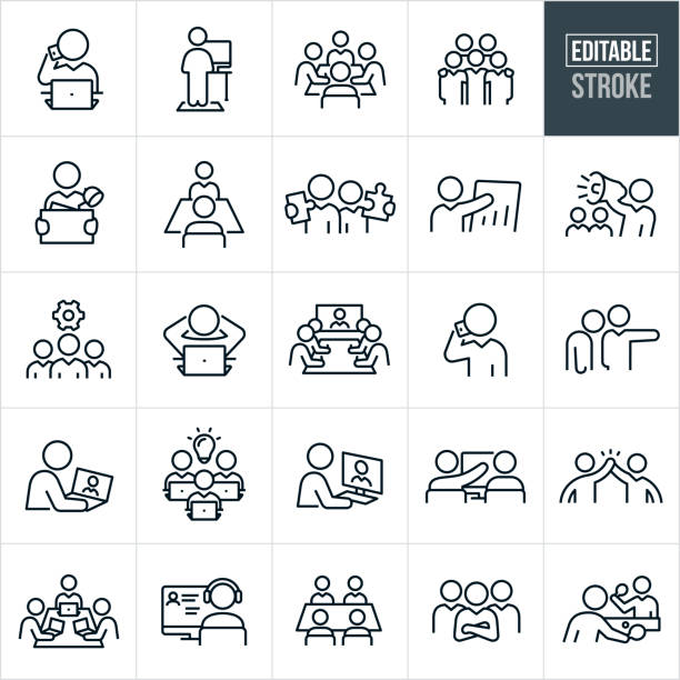Working Office Culture Thin Line Icons - Editable Stroke A set of working office culture icons that include editable strokes or outlines using the EPS vector file. The icons include business people working in different situations. They include a business person at their computer talking on a mobile phone, a person working at a computer on a standing desk, a boardroom full of business people working together, five business people with arms around shoulders, a business person carrying office supplies in a box, two business people each holding a puzzle piece, a business person giving a sales presentation, a business person using a bullhorn, a team of business people, business people in a boardroom taking part in a video conference, an employee being fired, a business person on their laptop, business person on their desktop computer, two business people working together at a computer, a high five between two business people, business team with arms folded and two business people playing a game of table tennis to name a few. collaboration stock illustrations