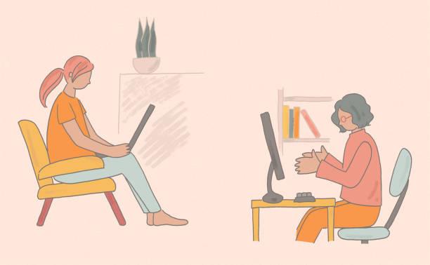 ilustrações, clipart, desenhos animados e ícones de trabalhando em computador em casa - e-learning not icons
