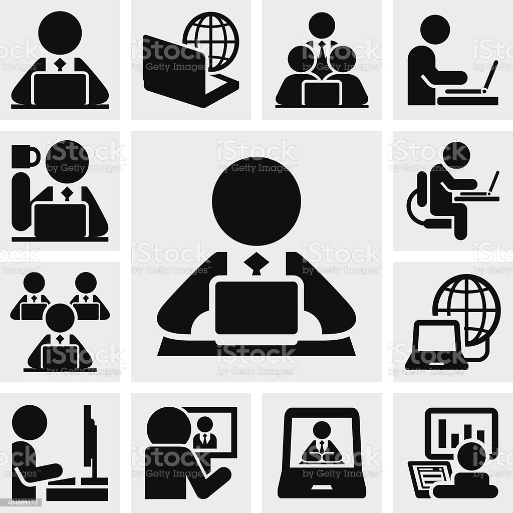 Working on computer vector icons set vector art illustration