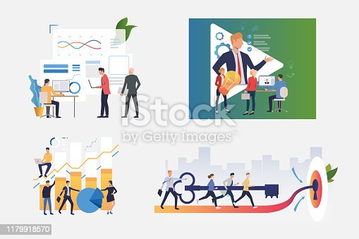 Working on project illustration set. People discussing, new ideas, constructing graphs, opening door together. Business concept. Vector illustration for banners, layouts, website design