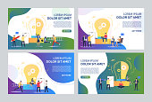 Working on startup set. Business team presenting charts, reports, discussing project at lightbulb. Flat vector illustrations. Business concept for banner, website design or landing web page
