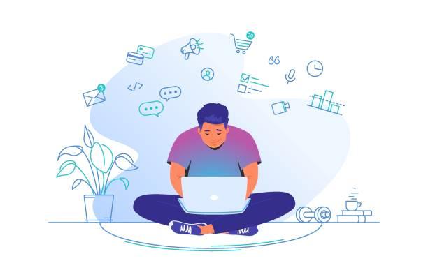 stockillustraties, clipart, cartoons en iconen met online werken met laptop thuis. de leuke mensenzitting thuis in lotusstelt met laptop en werkt op afstand - jonge mannen