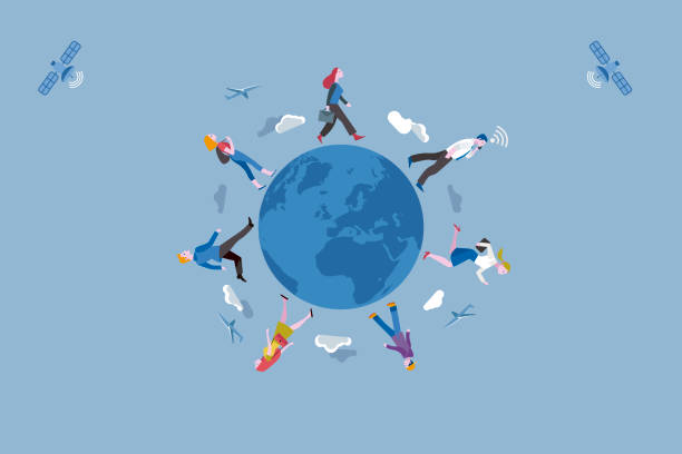 working people traveling along the earth globe - globalny stock illustrations