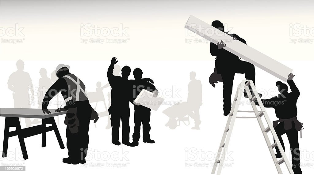 Working People Vector Silhouette royalty-free stock vector art