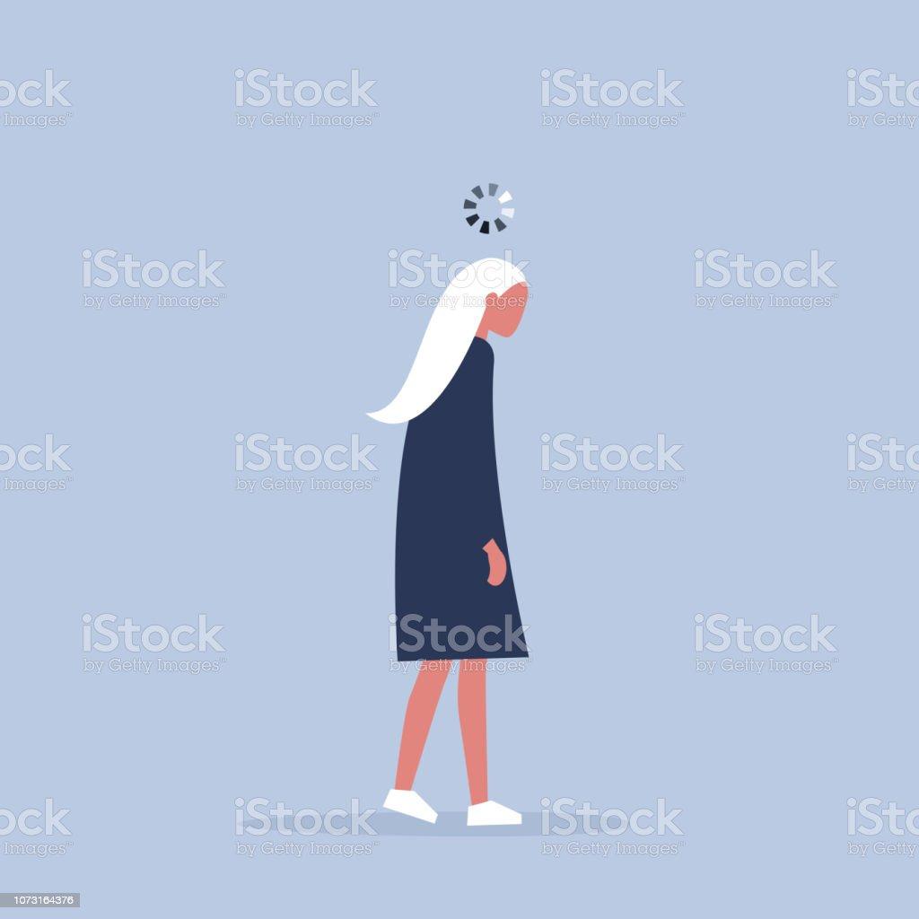 作業プロセスの概念図。ヤングは、彼女の頭の上の読み込みバーのマネージャーを使い果たします。仕事で新世紀。 ベクターアートイラスト