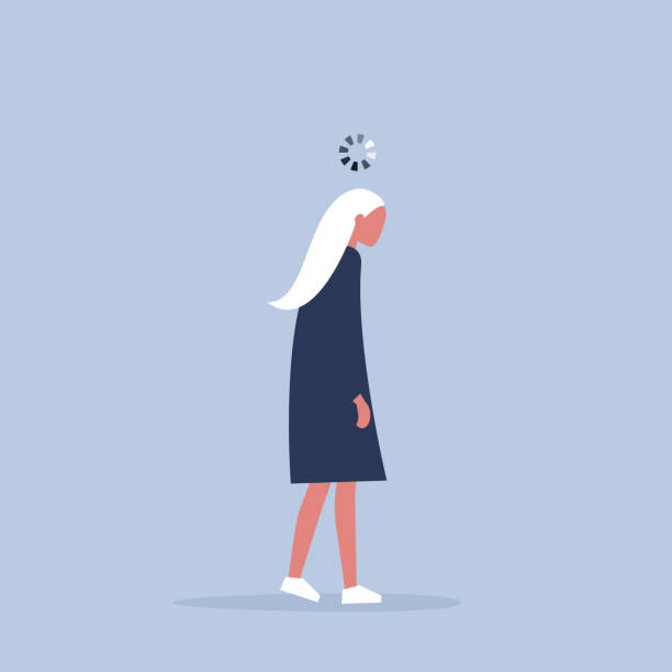 Working process conceptual illustration. Young exhausted manager with a loading bar above her head. Millennials at work. vector art illustration