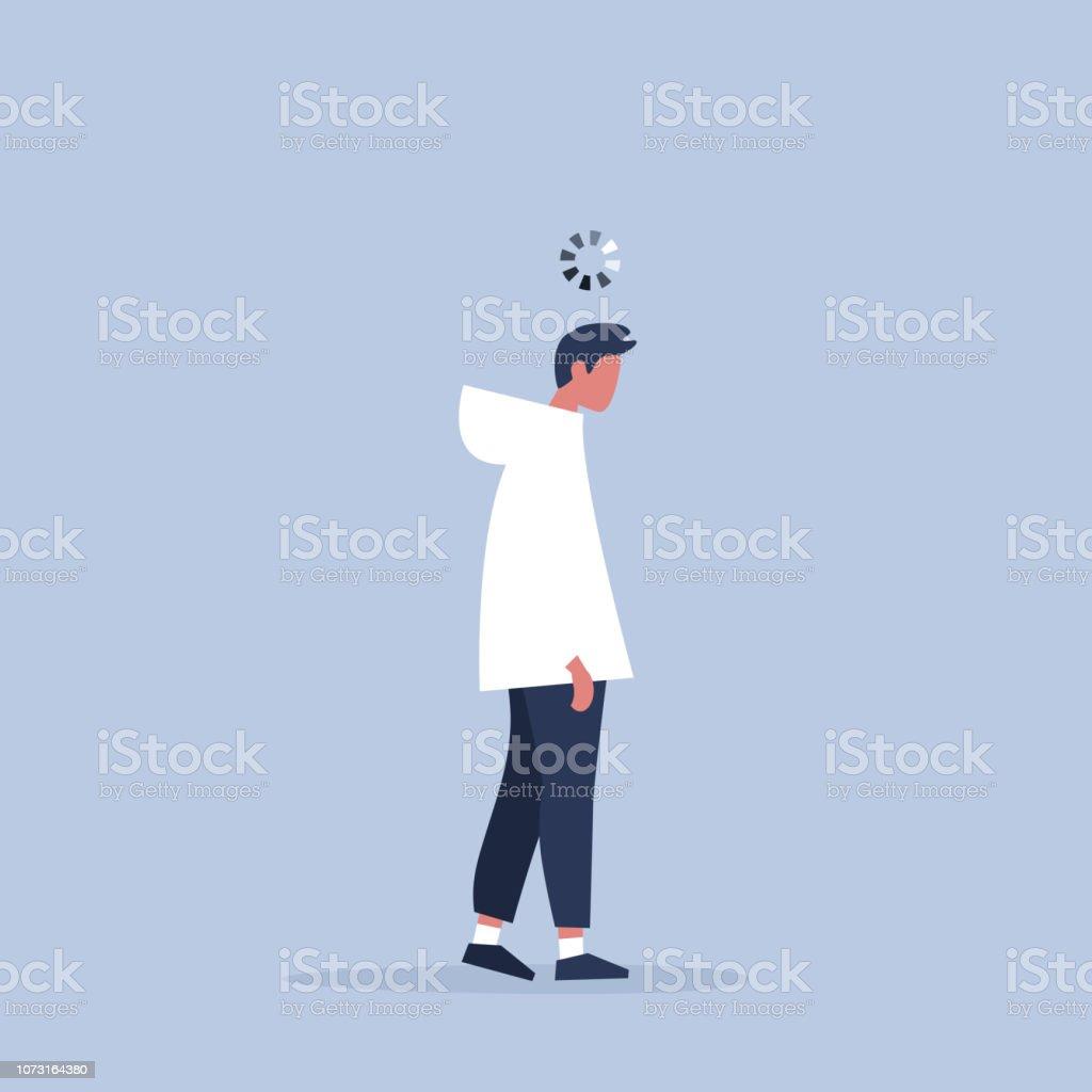 作業プロセスの概念図。ヤングは疲れと頭の上の読み込みバーのマネージャーです。仕事で新世紀。 ベクターアートイラスト