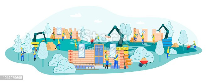 istock Working Process on Construction Site with Builders 1215279695