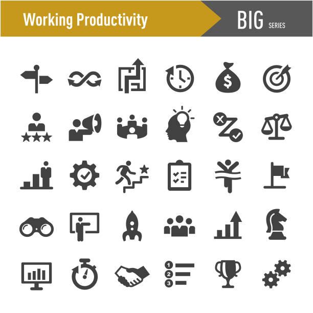 illustrazioni stock, clip art, cartoni animati e icone di tendenza di icone della produttività lavorativa - grande serie - efficacia