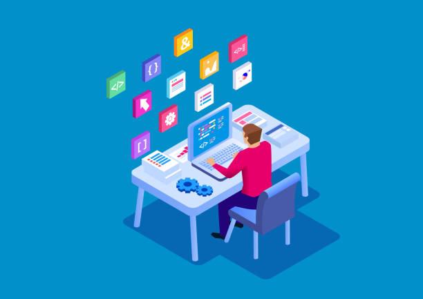 Working programmer Working programmer software developer stock illustrations