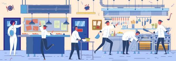 ilustraciones, imágenes clip art, dibujos animados e iconos de stock de cocineros de restaurantes, chefs y asistentes. - busy restaurant kitchen