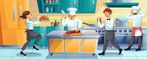 ilustraciones, imágenes clip art, dibujos animados e iconos de stock de el personal del restaurante de trabajo cocinando en la cocina - busy restaurant kitchen