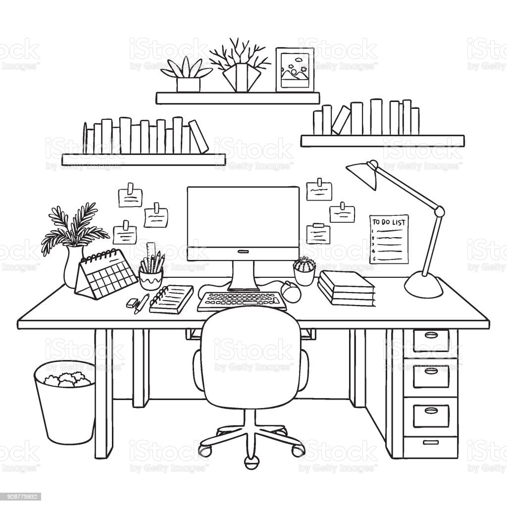 Working room vector art illustration