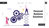 Working Routine Process and Teamwork Website Landing Page. Business People Moving Huge Gears, Woman Managing Cogwheels at Tablet, Man Grease Mechanism Web Page Banner. Cartoon Flat Vector Illustration