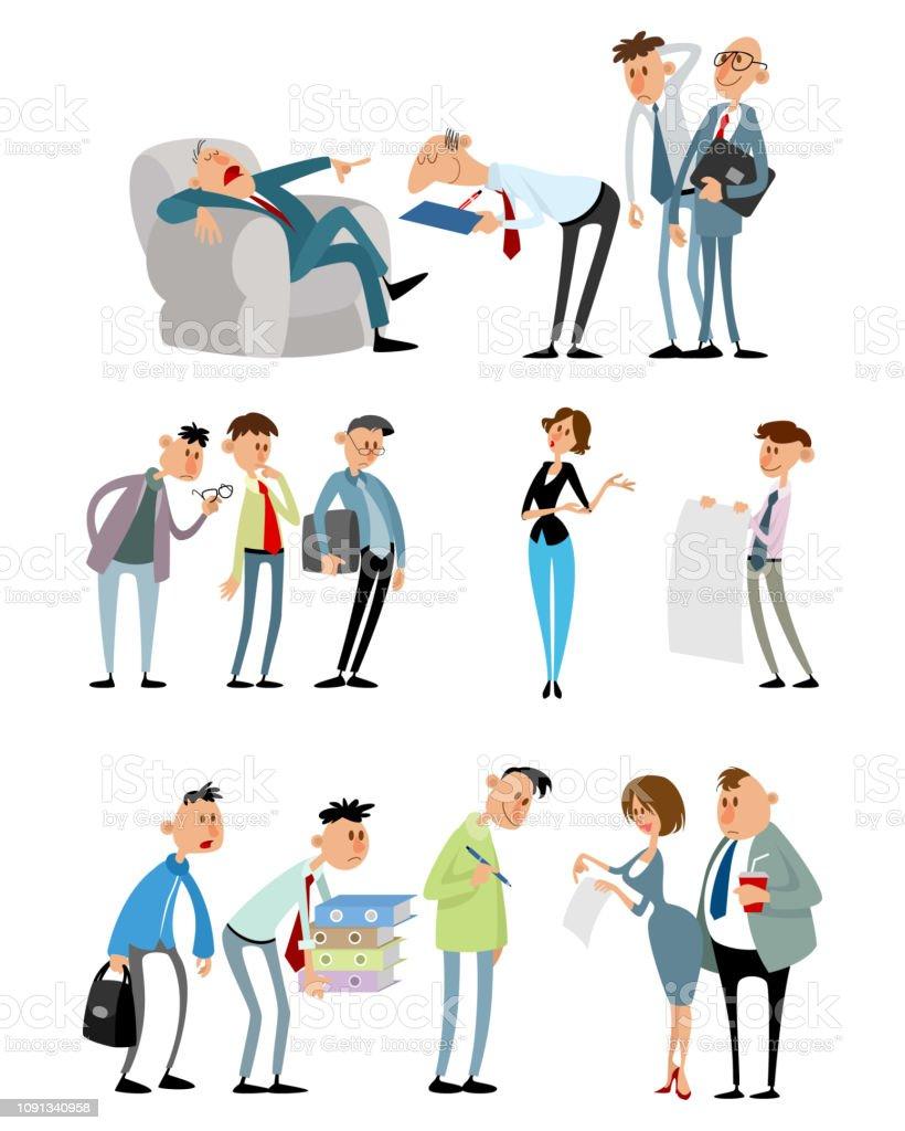 Situations De Travail Avec Des Personnages Droles Vecteurs Libres De Droits Et Plus D Images Vectorielles De Activite Istock
