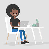 Working space. Black girl typing on a laptop / flat editable vector illustration, clip art