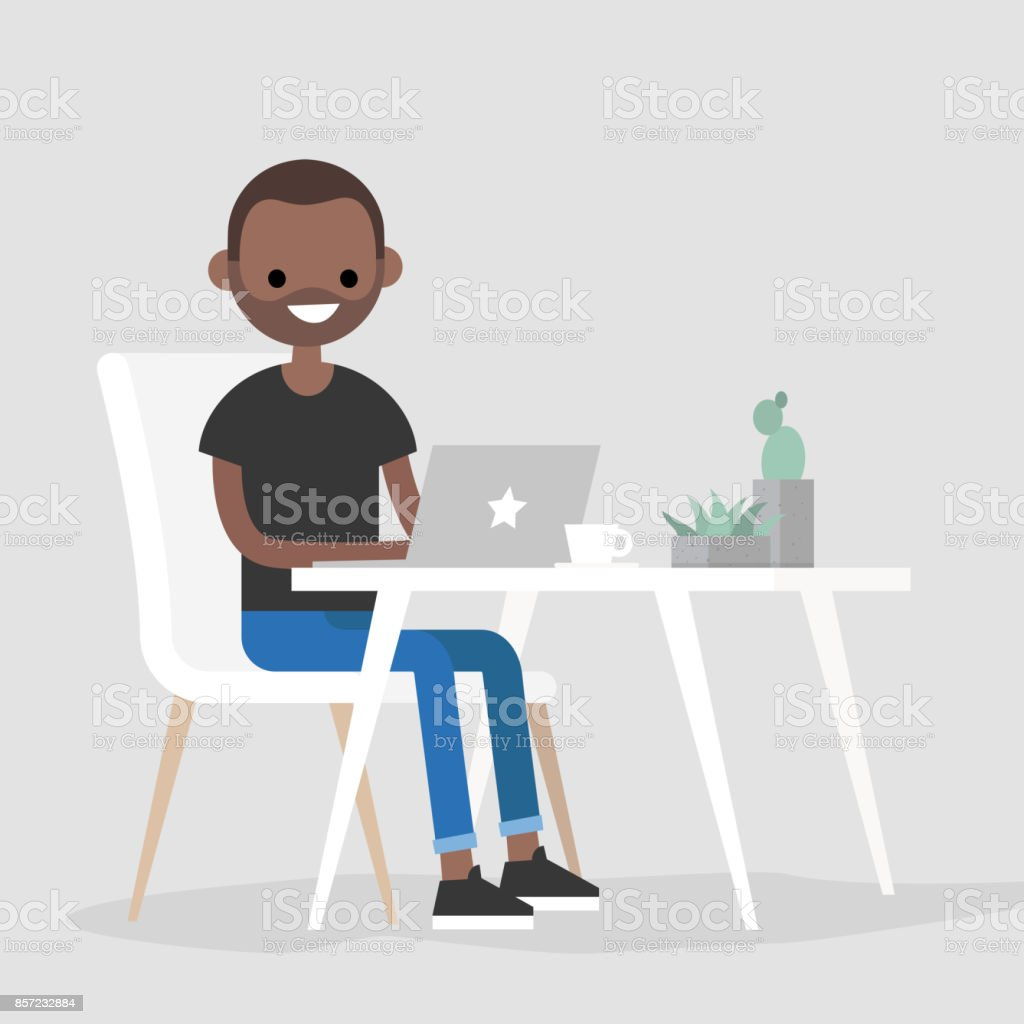 Working space. Young black character typing on a laptop / flat editable vector illustration, clip art vector art illustration