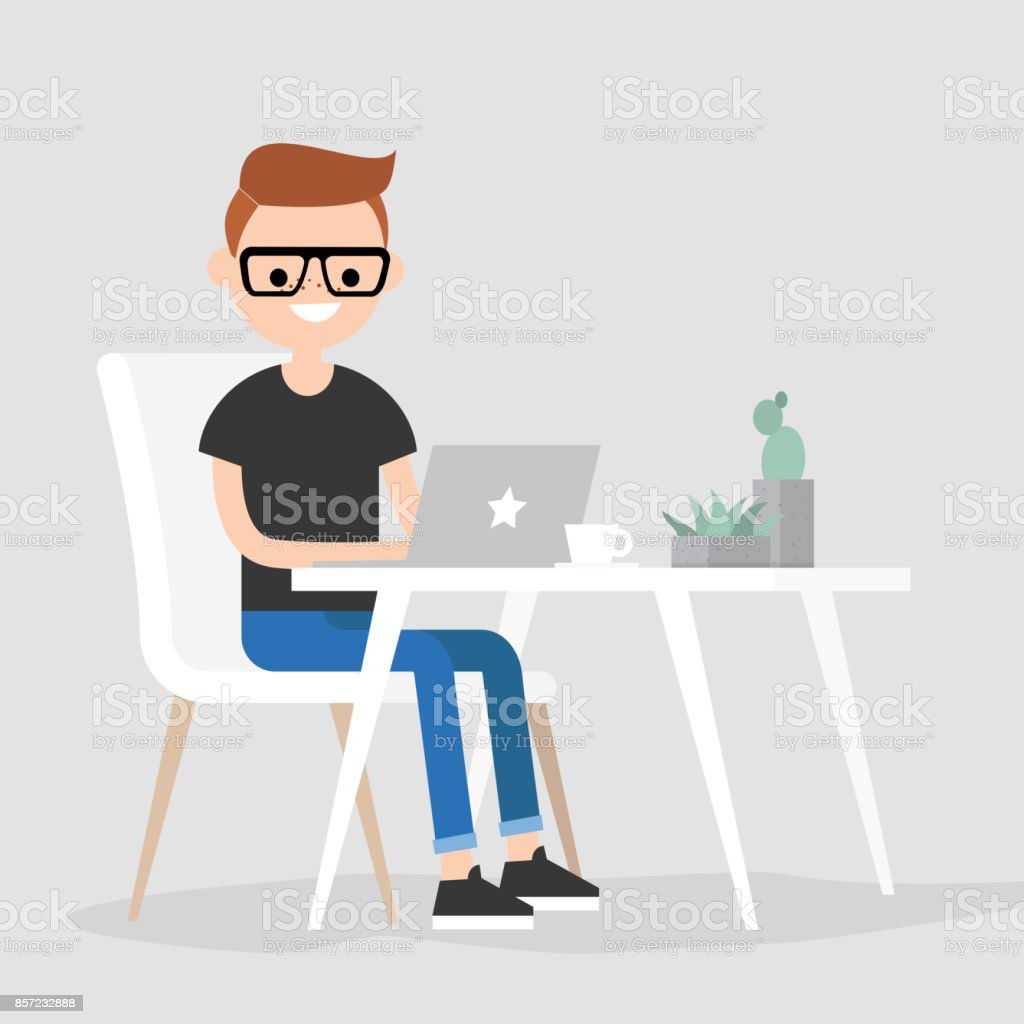 Working space. Young male character typing on a laptop / flat editable vector illustration, clip art vector art illustration