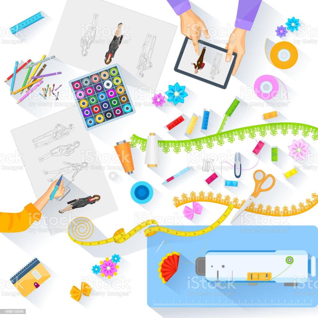 Working table of fashion designer vector art illustration