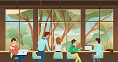 vector illustration of nice workplace, office, co working, cafe with people, business man meeting, working, taking together in front of window with nature view outside.