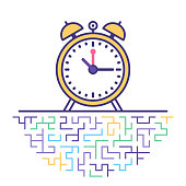 Flat line vector icon illustration of working time efficiency with abstract background.