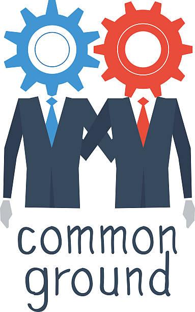 Working together, common ground Flat design illustration devolve stock illustrations