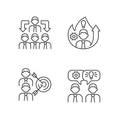 Working together linear icons set